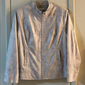 Pearlized Zip Front Jacket with Ruched Details